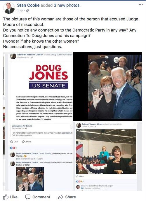 Woman who accuses Judge Moore, with Biden and Clinton