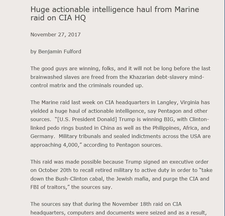 Marines raid CIA HQ, FBI Neutralized