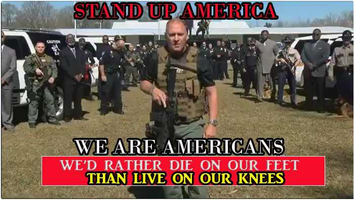 We are Americans; We'd rather die on our feet than live on our knees