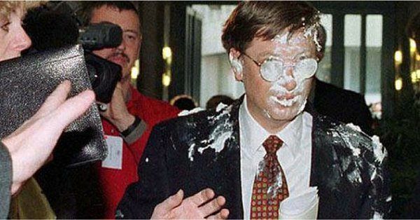 Bill Gates Received a Pie in The Face as He Entered a Meeting February 4, 1998