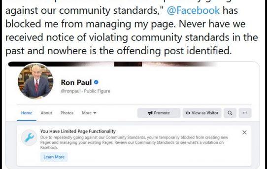 The Control Mechanisms Expand, Big Tech (Facebook) Targets Ron Paul-The Last Refuge