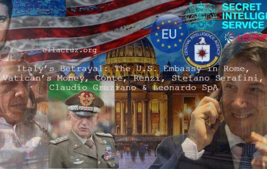 2020 Election & Italy's Betrayal: The U.S. Embassy in Rome, Vatican's Money, Conte, Renzi, Stefano Serafini, Claudio Graziano & Leonardo SpA