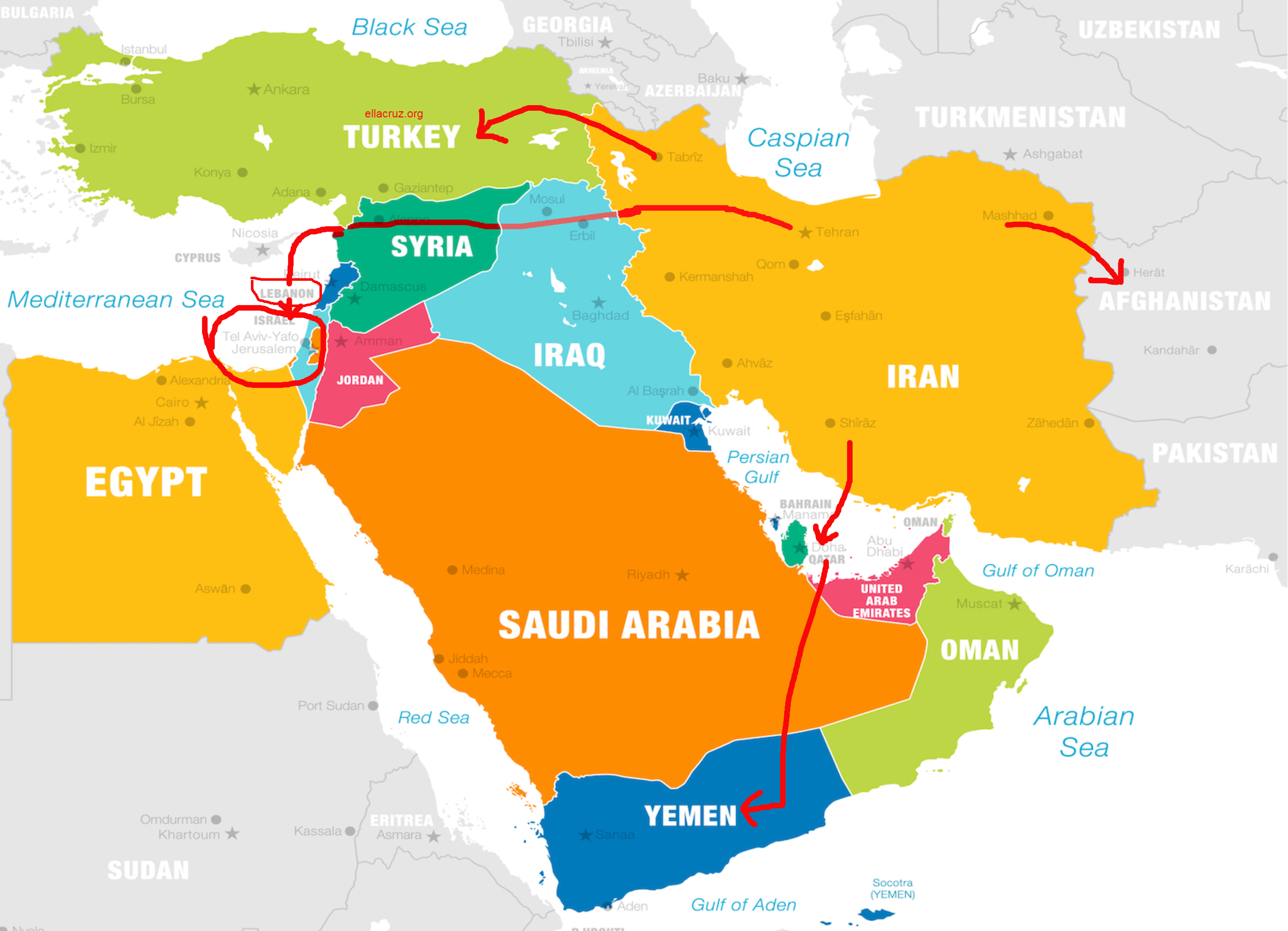 major shifts of power and the global dynamics will always depend on the middle east, particularly Iran, Iraq, Afghanistan, Syria, and Israel ellacruz.org