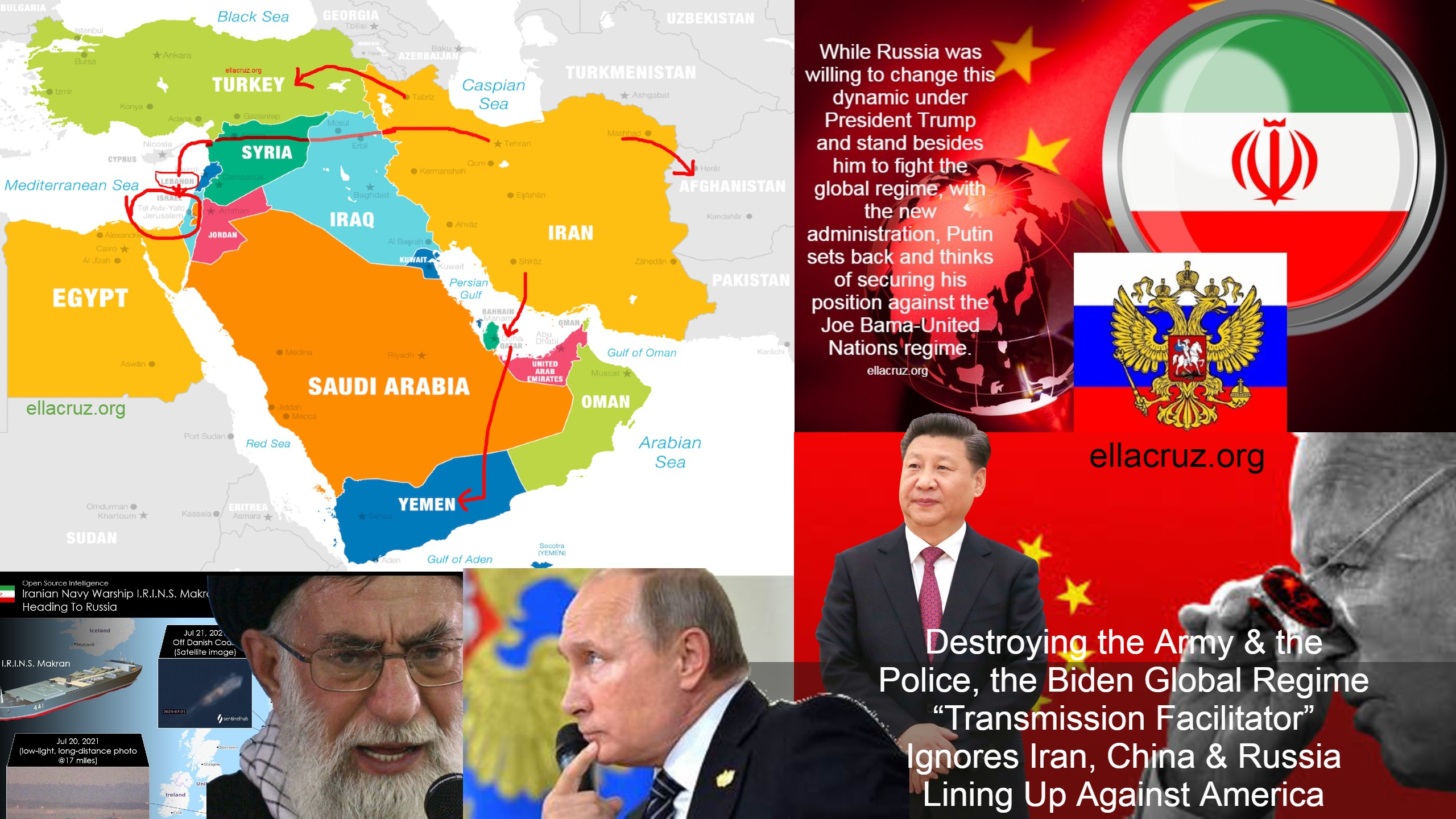 """Destroying the Army & the Police, the Biden Global Regime """"Transmission Facilitator"""" Ignores Iran, China & Russia Lining Up Against America ellacruz.org"""