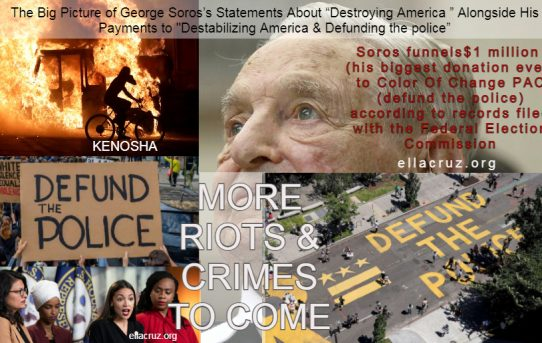 """The Big Picture of George Soros's Statements About """"Destroying America """" Alongside His Payments to """"Destabilizing America & Defunding the police"""""""